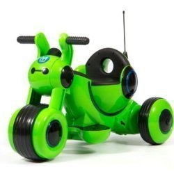 Детский электромотоцикл Y-MAXI YM77 зеленый (покраска глянец, музыка, световые эффекты, мягкие колеса EVA)