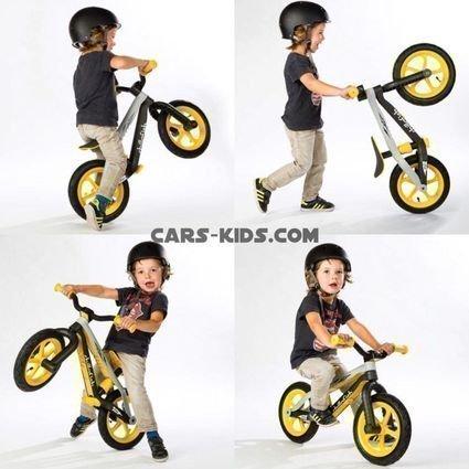 Легкий беговел в стиле трюкового Chillafish BMXie желтый (резиновые колеса)
