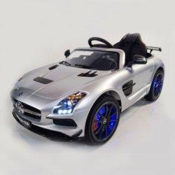 Электромобиль Mercedes-Benz SLS AMG серебристый (колеса резина, кресло кожа, пульт, музыка, электроусилитель)